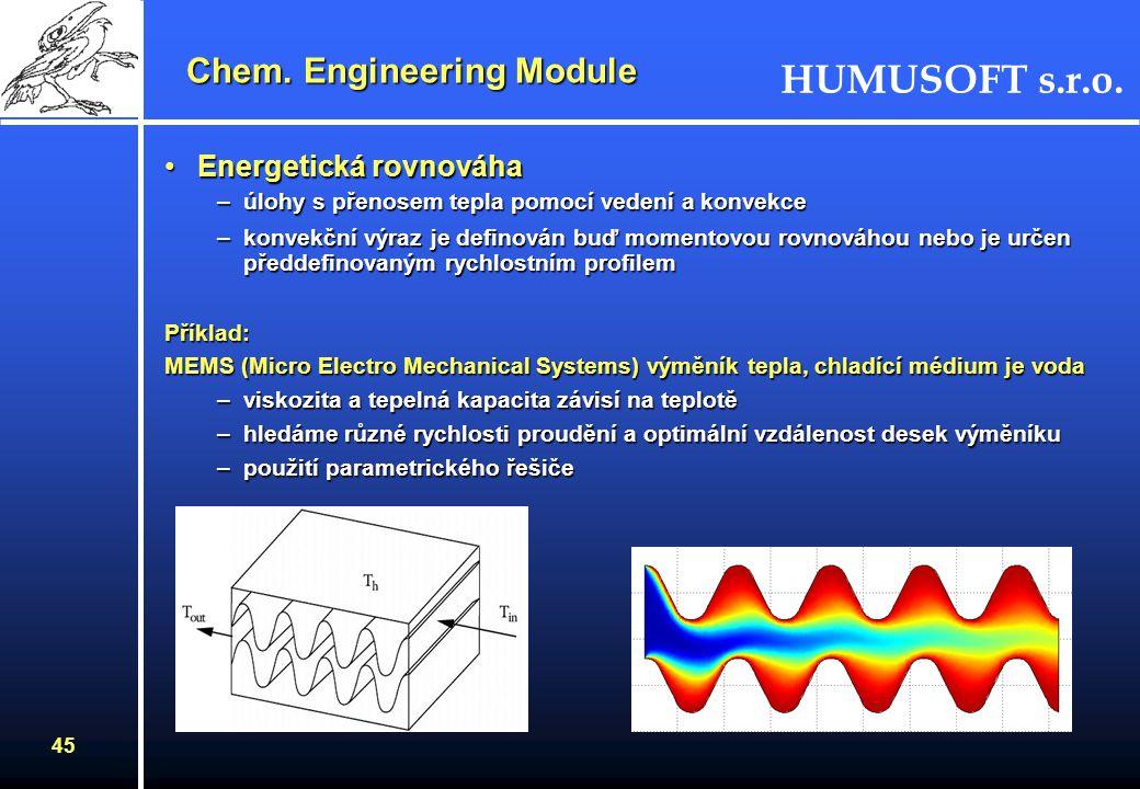 HUMUSOFT s.r.o. 44 Momentová rovnováha Příklad: Proudění vzduchu kanálem s překážkou na stěně –řešení stlačitelného proudění Eulerovými rovnicemi –pou