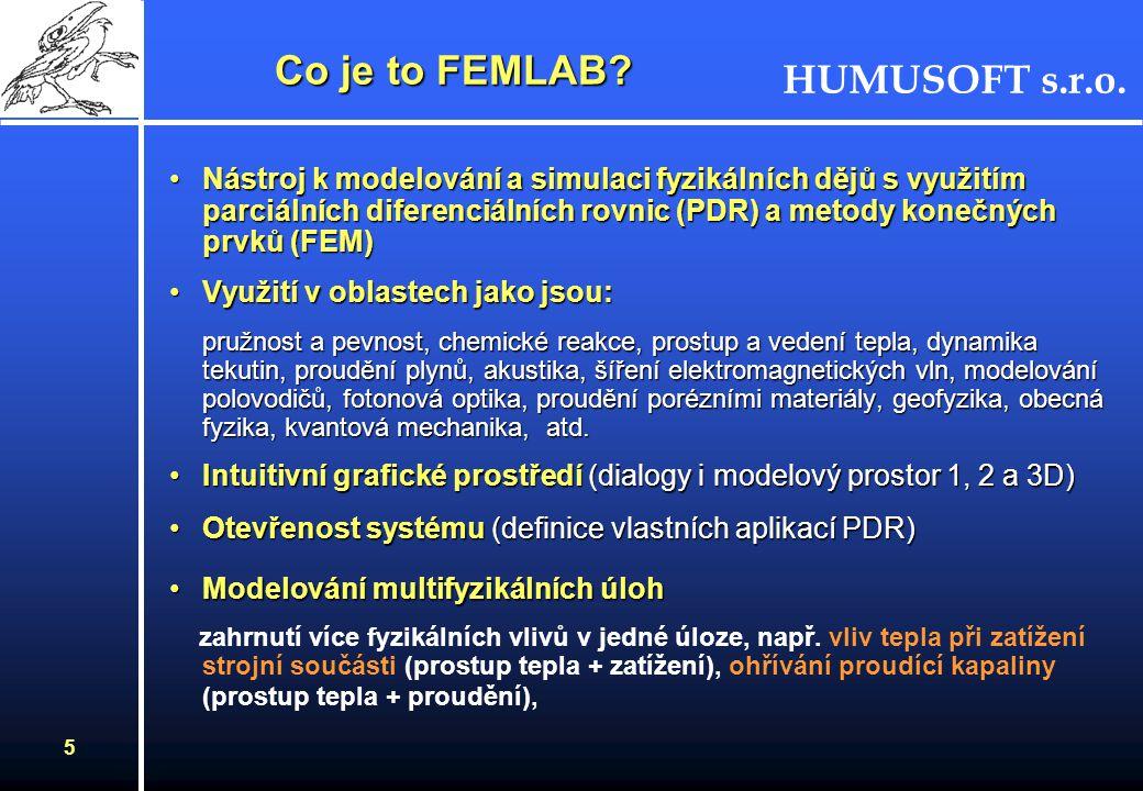 HUMUSOFT s.r.o. 4 COMSOL, Švédsko Společnost založena v červenci 1986 ve StockholmuSpolečnost založena v červenci 1986 ve Stockholmu Pobočky v Dánslu,