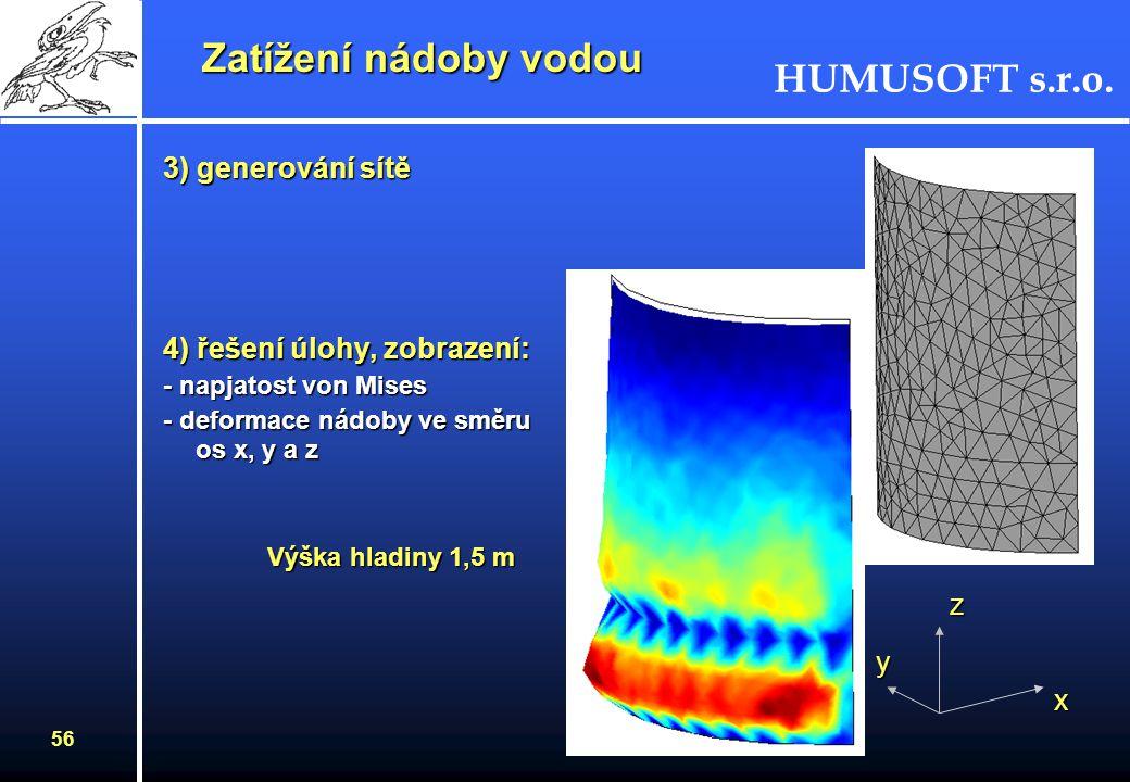 HUMUSOFT s.r.o. 55 Postup řešení - multifyzikální úloha: 1) režim pro skořepinu - zadání podmínek na hranách (vliv symetrie) - zadání okrajových podmí
