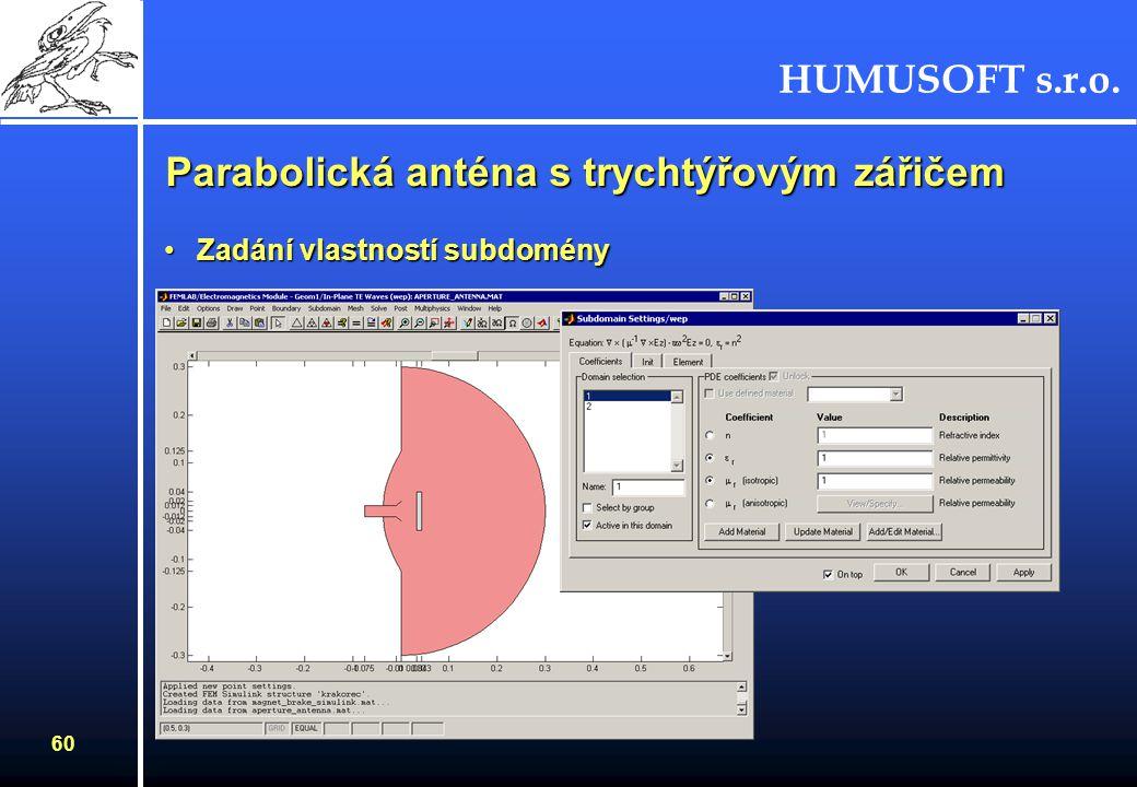 HUMUSOFT s.r.o. 59 Parabolická anténa s trychtýřovým zářičem Zadání okrajových podmínekZadání okrajových podmínek