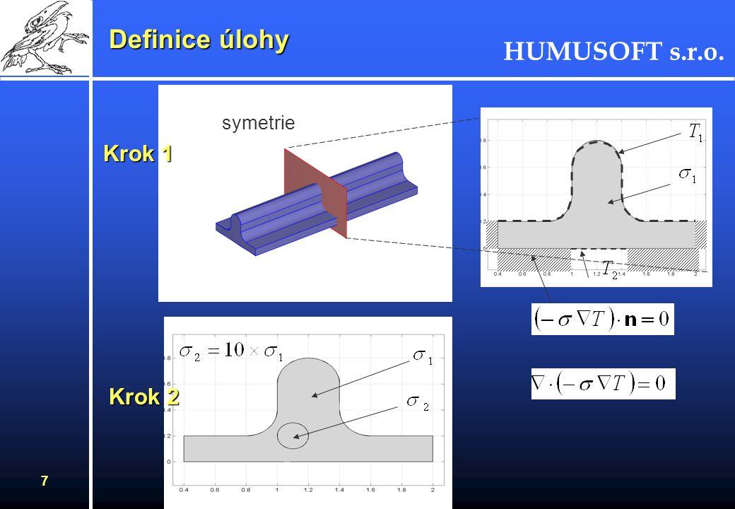 HUMUSOFT s.r.o. 6 Jednoduchý příklad na prostup tepla - Rovnice tepla - Lineární stacionární úloha - Obsahuje několik subdomén