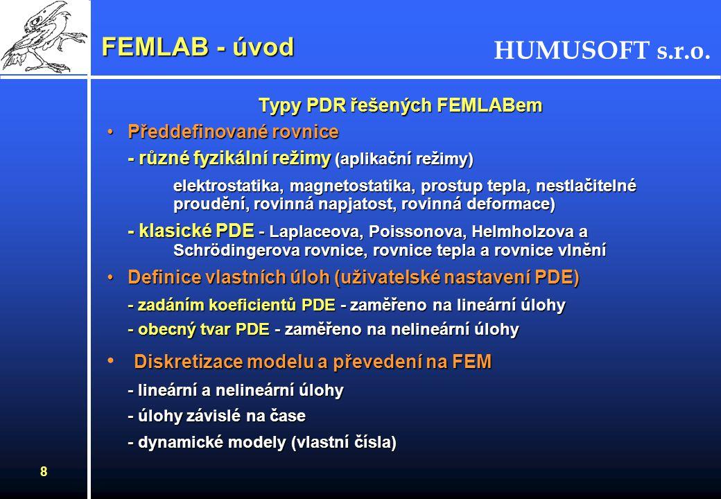 HUMUSOFT s.r.o. 7 Definice úlohy Krok 1 symetrie Krok 2