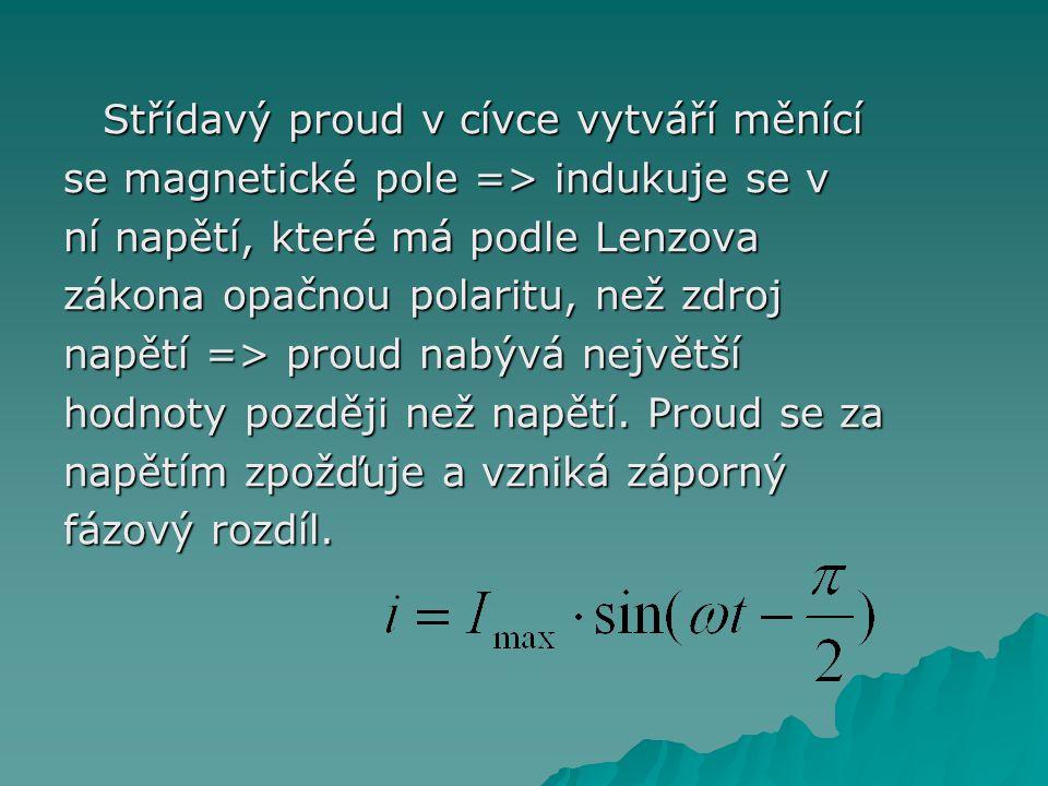 Střídavý proud v cívce vytváří měnící se magnetické pole => indukuje se v ní napětí, které má podle Lenzova zákona opačnou polaritu, než zdroj napětí => proud nabývá největší hodnoty později než napětí.