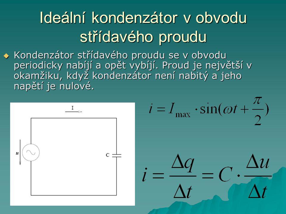 Ideální kondenzátor v obvodu střídavého proudu  Kondenzátor střídavého proudu se v obvodu periodicky nabíjí a opět vybíjí.