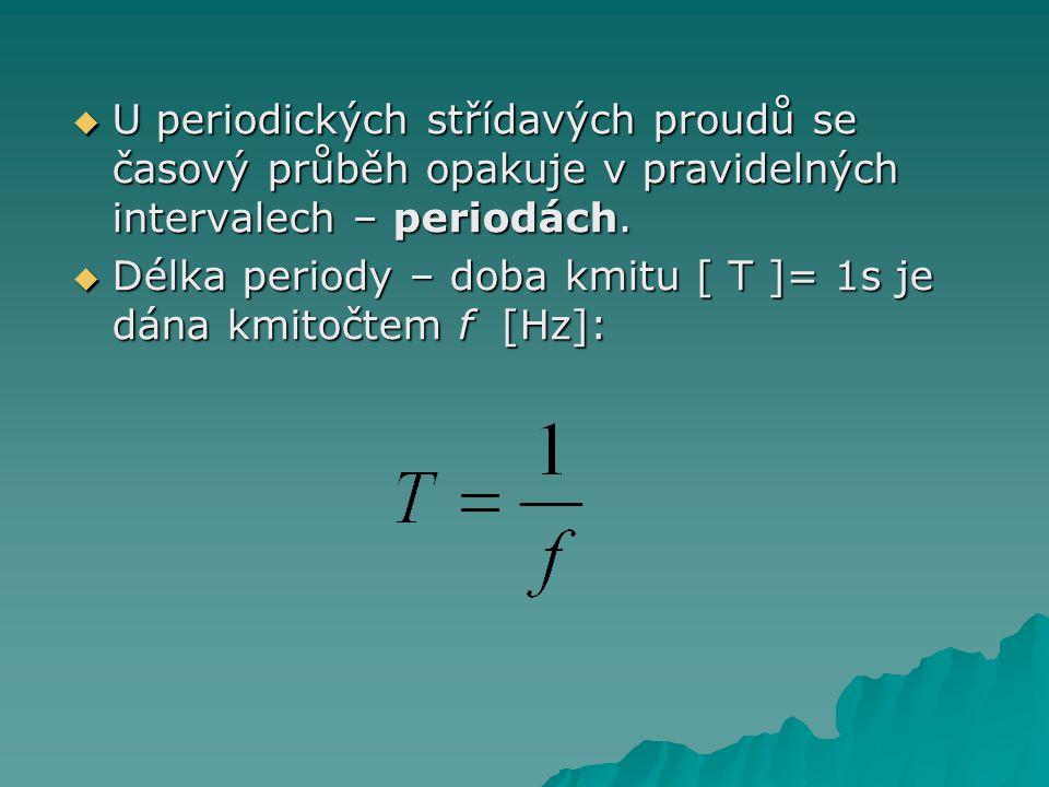  U periodických střídavých proudů se časový průběh opakuje v pravidelných intervalech – periodách.