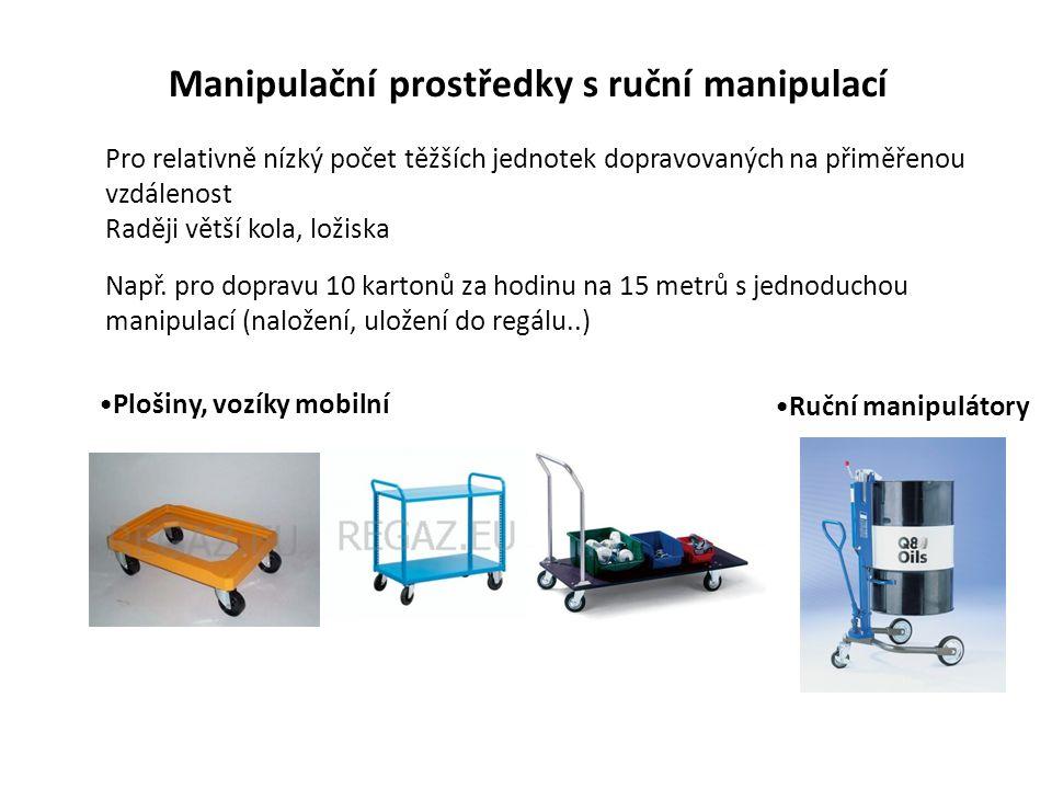 Paletizační vozíky ruční obsluha Prostředky pro horizontální dopravu hmotnějšího zboží na větší vzdálenosti Manipulační prostředky pojezdové Pojízdné palety Kombinace palety a vozíku Možnost vykládat a nakládat palety na vozidla manuálně (1 vrstva) stejně jako vidlicovými vozíky