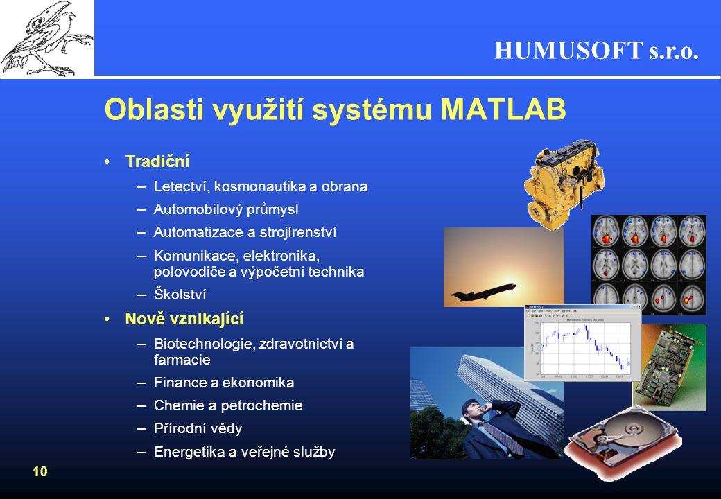 HUMUSOFT s.r.o. 9 MATLAB Výpočty, programování, vizualizace... Toolboxy (knihovny funkcí) Tvorba samostatných aplikací Simulink Simulace a modelování