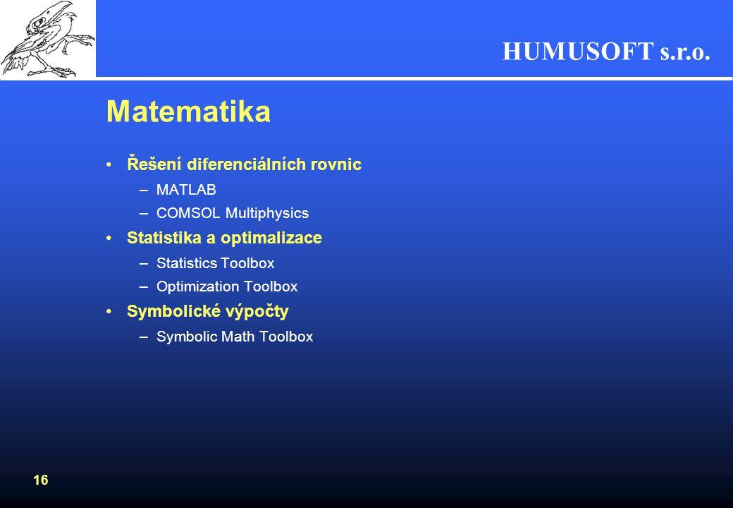 HUMUSOFT s.r.o. 15 Rozšíření MATLAB Compileru MATLAB Builder EX –vytvoření samostatného doplňku pro Excel –Umožní začlenit do Excelu pokročilé algorit