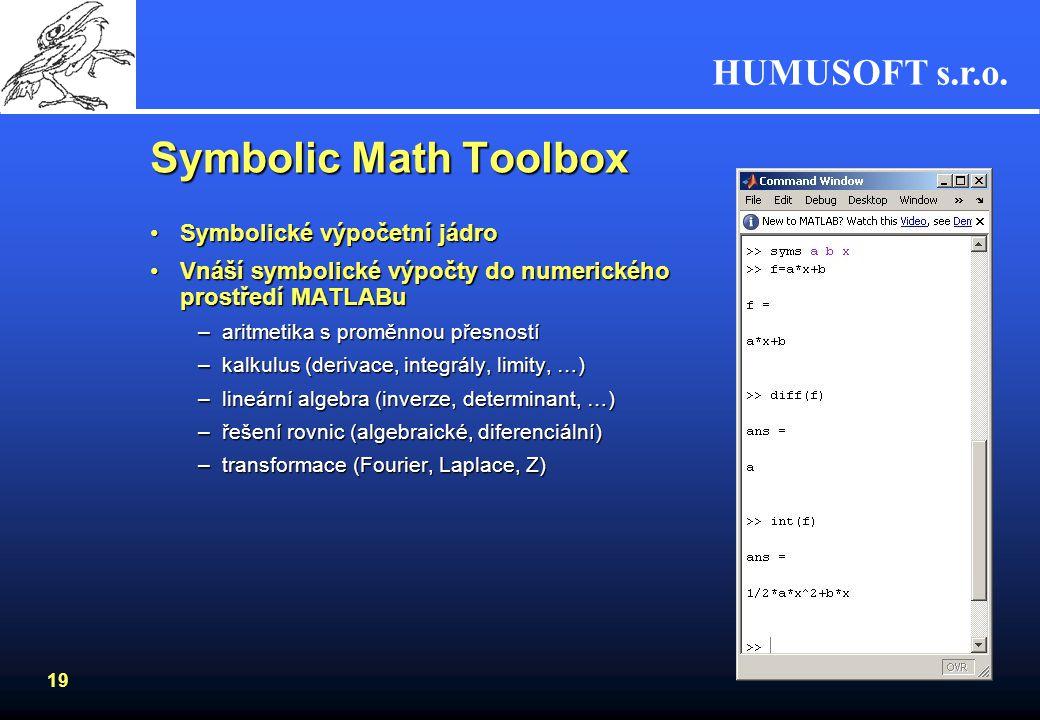 HUMUSOFT s.r.o. 18 Optimization Toolbox Rozsáhlý soubor algoritmů pro optimalizaciRozsáhlý soubor algoritmů pro optimalizaci –podmíněné, nepodmíněné,