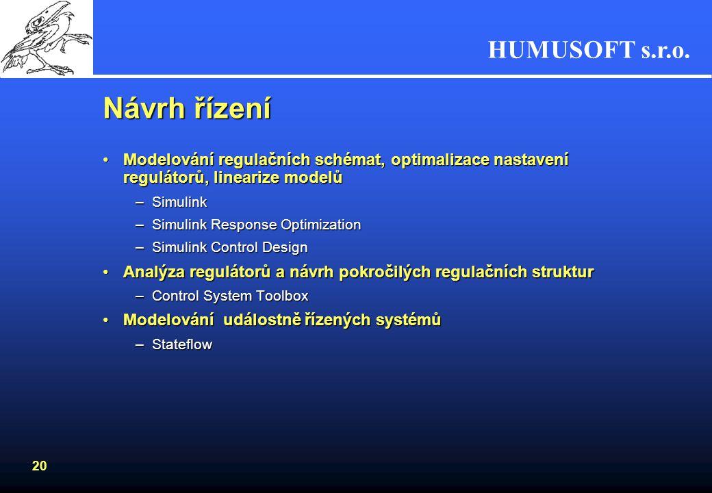HUMUSOFT s.r.o. 19 Symbolic Math Toolbox Symbolické výpočetní jádroSymbolické výpočetní jádro Vnáší symbolické výpočty do numerického prostředí MATLAB