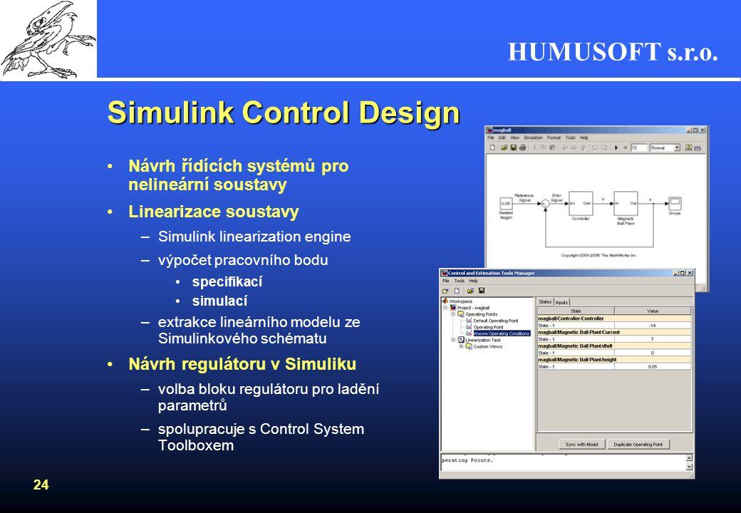 HUMUSOFT s.r.o. 23 Simulink Response Optimization Nástroj pro optimalizaci chování modelu systémuNástroj pro optimalizaci chování modelu systému –graf