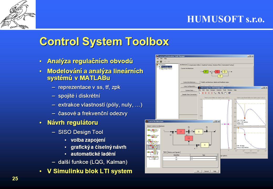 HUMUSOFT s.r.o. 24 Simulink Control Design Návrh řídících systémů pro nelineární soustavy Linearizace soustavy –Simulink linearization engine –výpočet