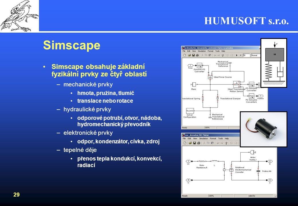 HUMUSOFT s.r.o. 28 Fyzikální modelování Modelování skládáním bloků, které reprezentují prvky reálného světaModelování skládáním bloků, které reprezent