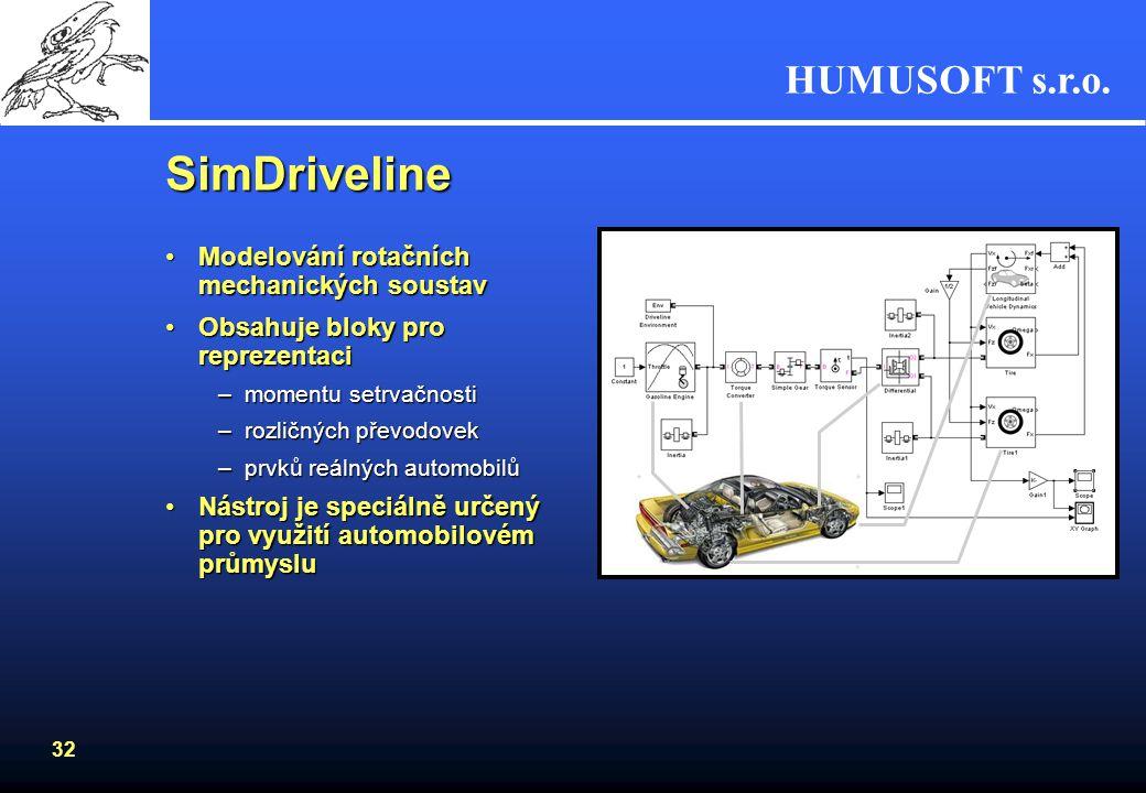 HUMUSOFT s.r.o. 31 SimMechanics Modelování složitých kinematických soustavModelování složitých kinematických soustav Obsahuje bloky pro reprezentaciOb