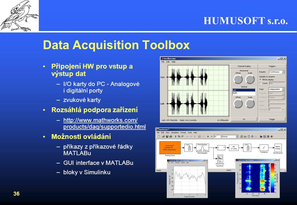 HUMUSOFT s.r.o. 35 Zpracování signálu a obrazu Zpracování signálu v MATLABu –Data Acquisition Toolbox –Signal Processing Toolbox –Filter Design Toolbo