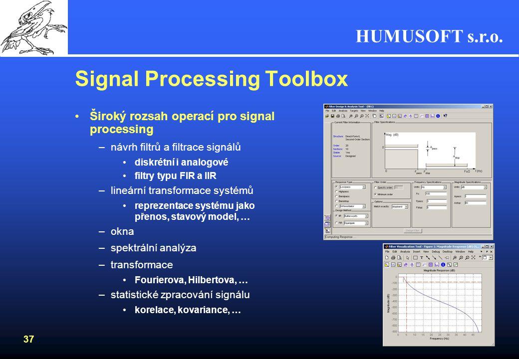 HUMUSOFT s.r.o. 36 Data Acquisition Toolbox Připojení HW pro vstup a výstup dat –I/O karty do PC - Analogové i digitální porty –zvukové karty Rozsáhlá