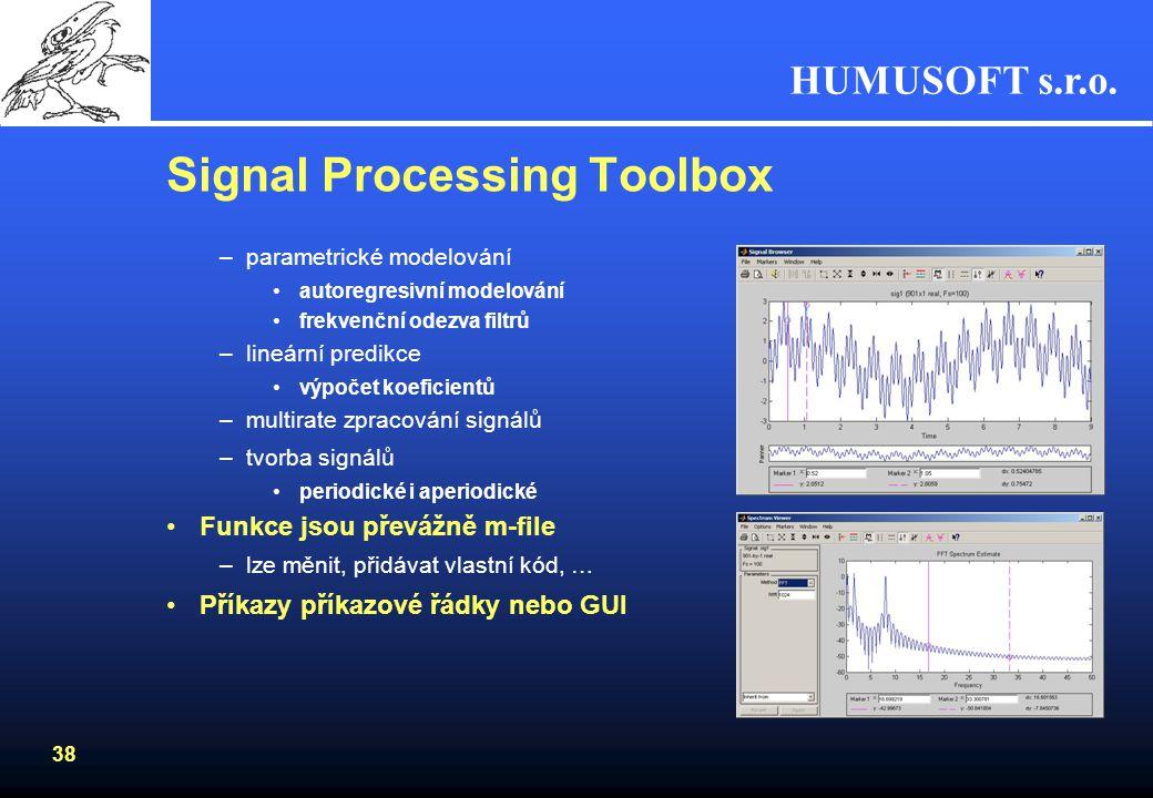 HUMUSOFT s.r.o. 37 Signal Processing Toolbox Široký rozsah operací pro signal processing –návrh filtrů a filtrace signálů diskrétní i analogové filtry