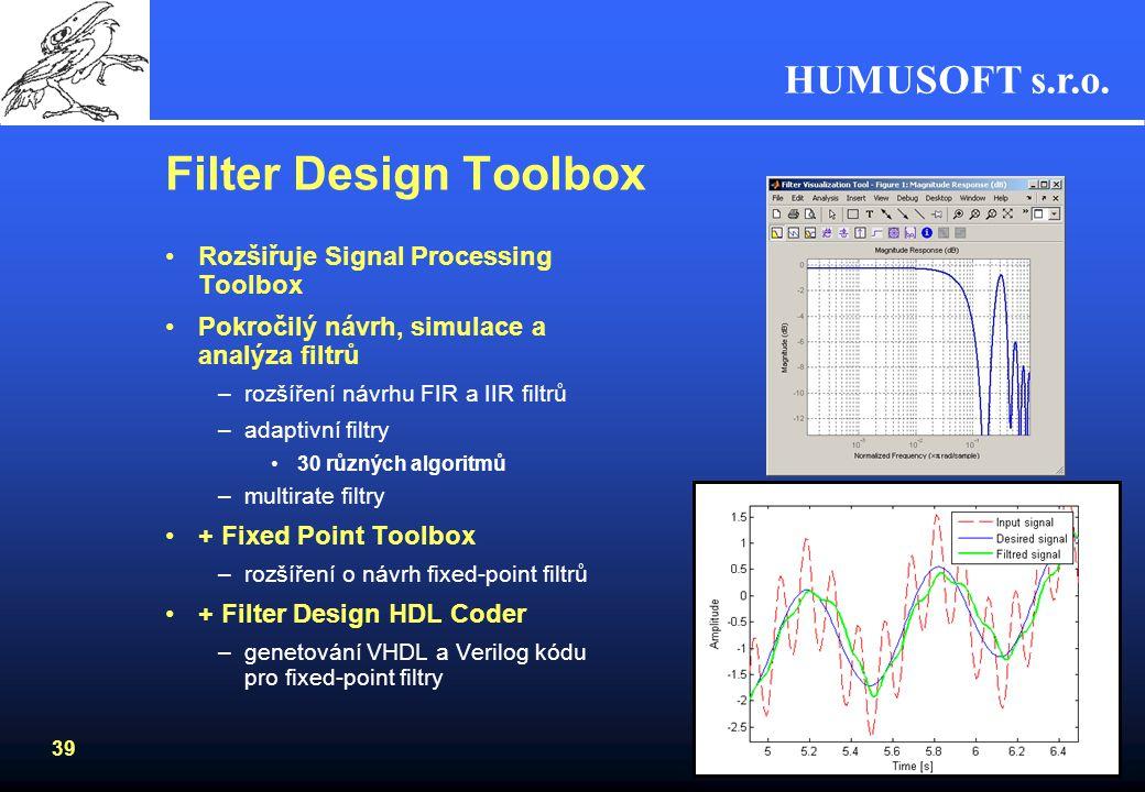 HUMUSOFT s.r.o. 38 Signal Processing Toolbox –parametrické modelování autoregresivní modelování frekvenční odezva filtrů –lineární predikce výpočet ko