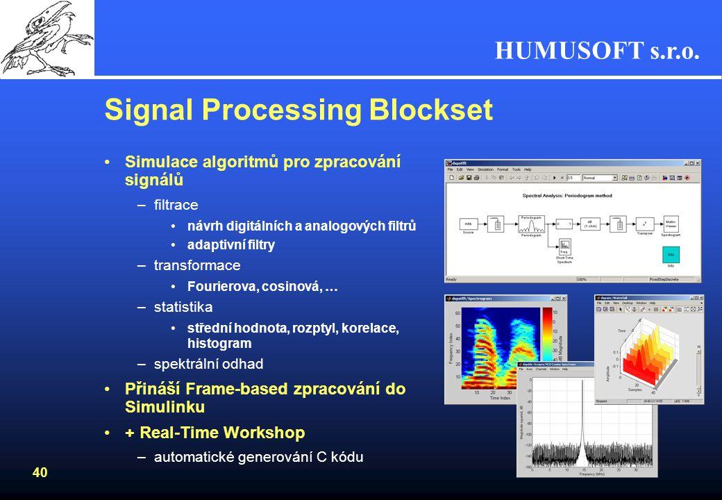 HUMUSOFT s.r.o. 39 Filter Design Toolbox Rozšiřuje Signal Processing Toolbox Pokročilý návrh, simulace a analýza filtrů –rozšíření návrhu FIR a IIR fi