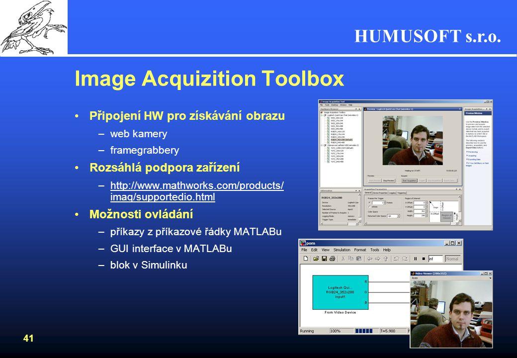 HUMUSOFT s.r.o. 40 Signal Processing Blockset Simulace algoritmů pro zpracování signálů –filtrace návrh digitálních a analogových filtrů adaptivní fil
