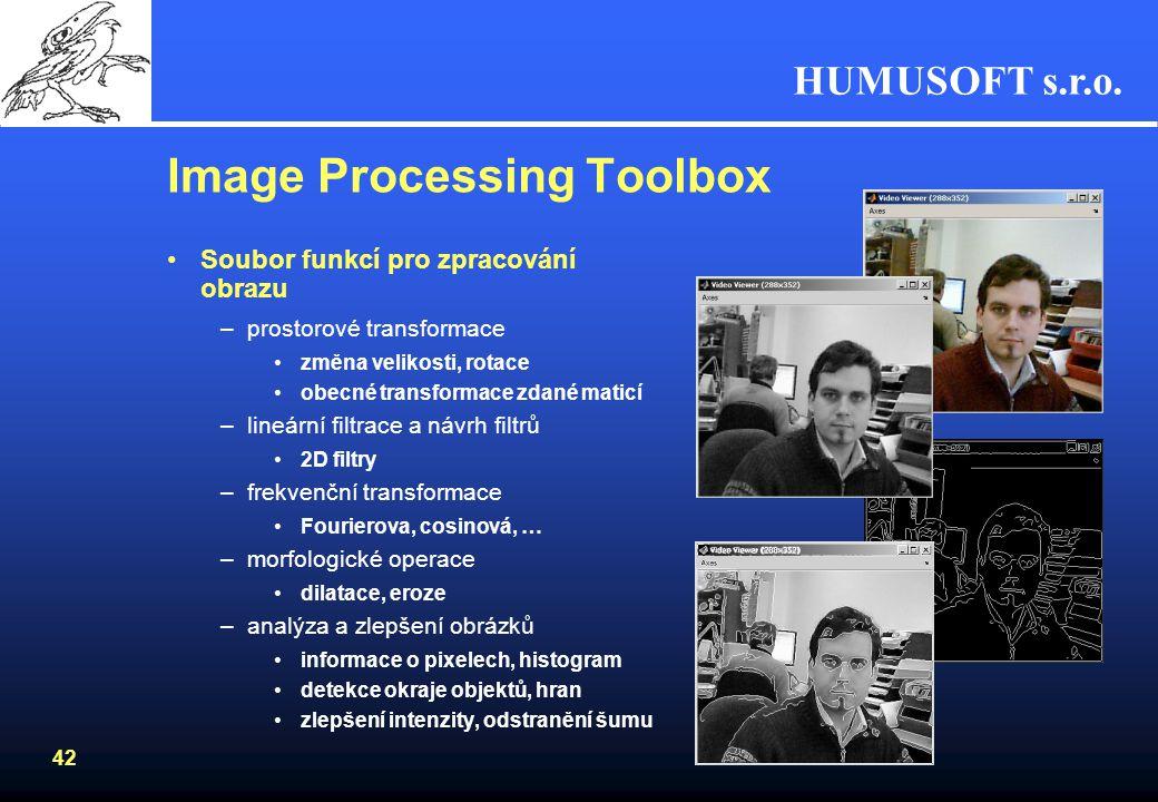 HUMUSOFT s.r.o. 41 Image Acquizition Toolbox Připojení HW pro získávání obrazu –web kamery –framegrabbery Rozsáhlá podpora zařízení –http://www.mathwo