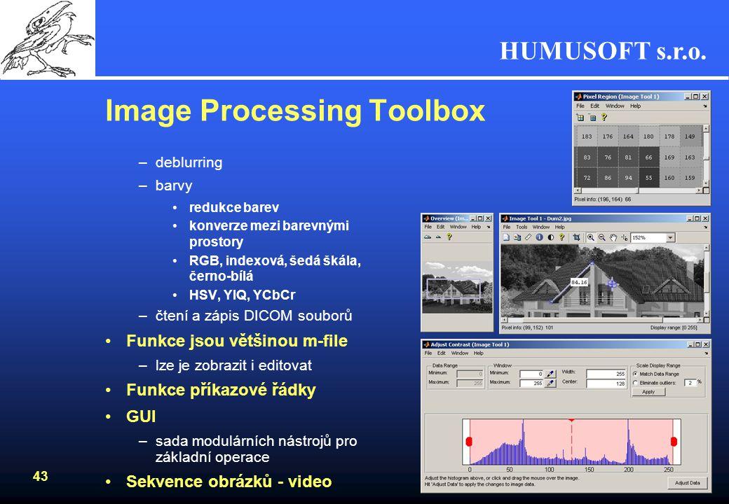 HUMUSOFT s.r.o. 42 Image Processing Toolbox Soubor funkcí pro zpracování obrazu –prostorové transformace změna velikosti, rotace obecné transformace z