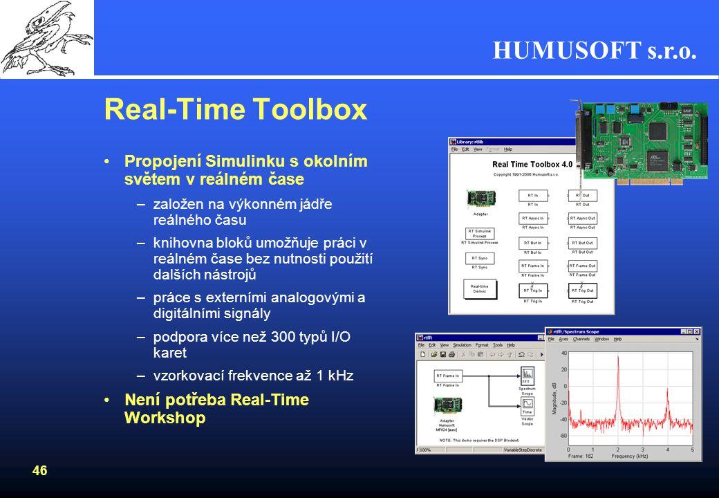 HUMUSOFT s.r.o. 45 Aplikace v reálném čase Testování algoritmů ve spojení s reálnými systémy (HIL simulace) Tři úrovně Real-Time Aplikací –Přímo v Sim
