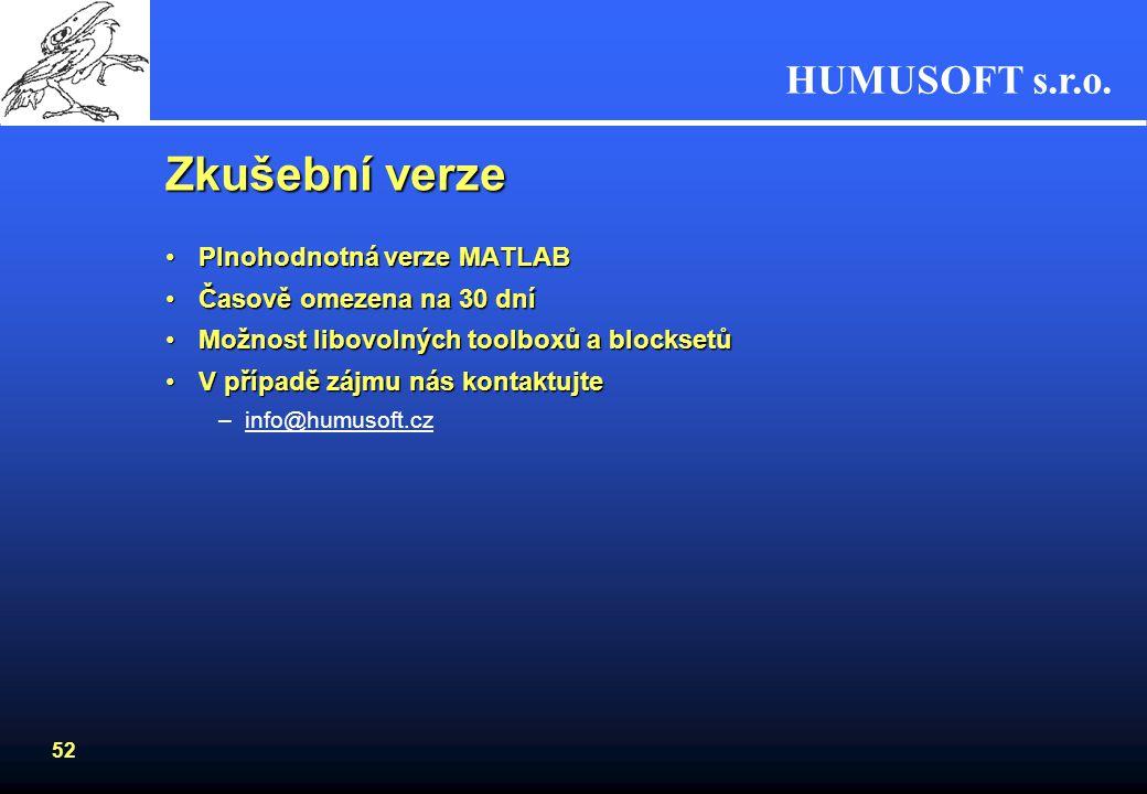 HUMUSOFT s.r.o. 51 Www zdroje informací Knihy a publikace –CZ/SK knihy a publikace využívající nebo popisující systém MATLAB/Simulink www.humusoft.cz/