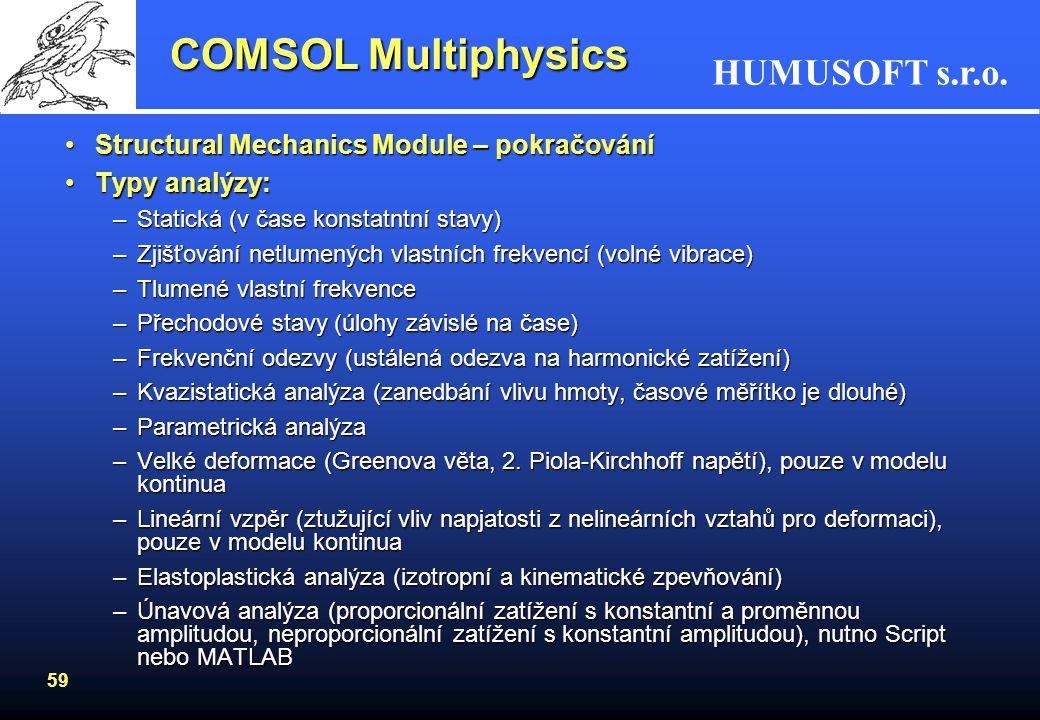 HUMUSOFT s.r.o. 58 COMSOL Multiphysics Structural Mechanics Module - aplikace založené na:Structural Mechanics Module - aplikace založené na: –Plane s