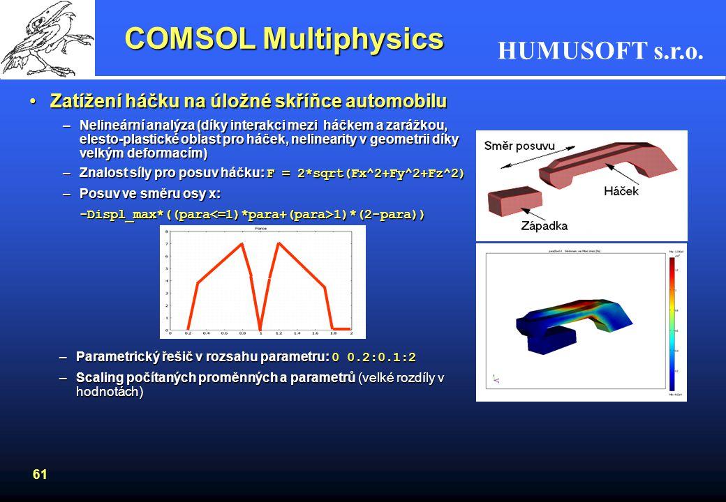 HUMUSOFT s.r.o. 60 Prattův most z příhradových nosníkůPrattův most z příhradových nosníků –kombinace 3D příhradové konstrukce a zatížení konstrukce (s