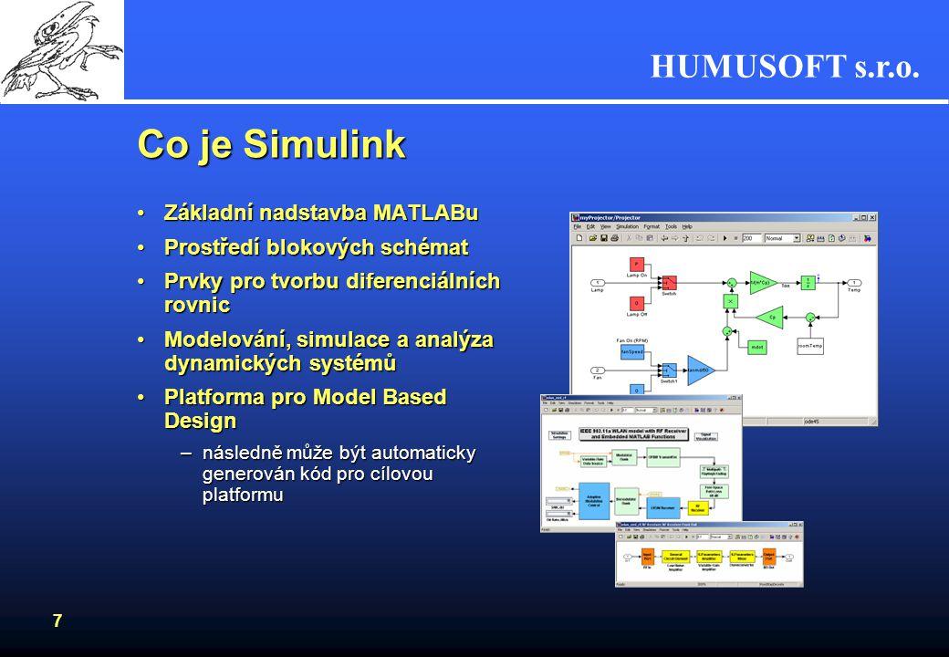 HUMUSOFT s.r.o. 6 Co MATLAB nabízí? Intuitivní uživatelské rozhraní MATLAB DesktopIntuitivní uživatelské rozhraní MATLAB Desktop Rychlé výpočetní jádr