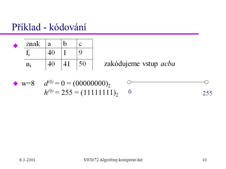 8.3.2001SWI072 Algoritmy komprese dat10 Příklad - kódování u zakódujeme vstup acba u w=8 d (0) = 0 = (00000000) 2 h (0) = 255 = (11111111) 2 0 255