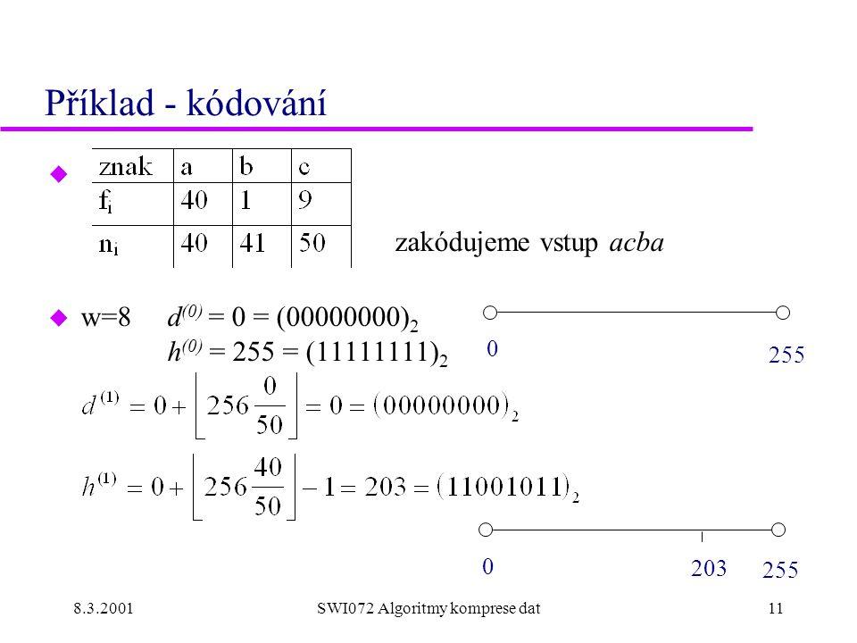 8.3.2001SWI072 Algoritmy komprese dat11 Příklad - kódování u zakódujeme vstup acba u w=8 d (0) = 0 = (00000000) 2 h (0) = 255 = (11111111) 2 0 255 0 2