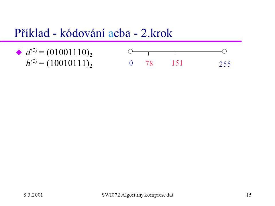8.3.2001SWI072 Algoritmy komprese dat15 Příklad - kódování acba - 2.krok u d (2) = (01001110) 2 h (2) = (10010111) 2 0 151 255 78