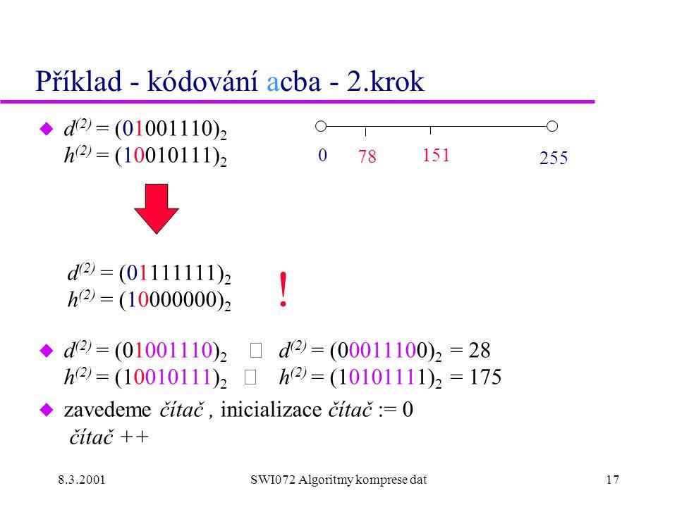 8.3.2001SWI072 Algoritmy komprese dat17 Příklad - kódování acba - 2.krok u d (2) = (01001110) 2 h (2) = (10010111) 2 d (2) = (01111111) 2 h (2) = (10000000) 2  d (2) = (01001110) 2  d (2) = (00011100) 2 = 28 h (2) = (10010111) 2  h (2) = (10101111) 2 = 175 u zavedeme čítač, inicializace čítač := 0 čítač ++ 0 151 255 78 !