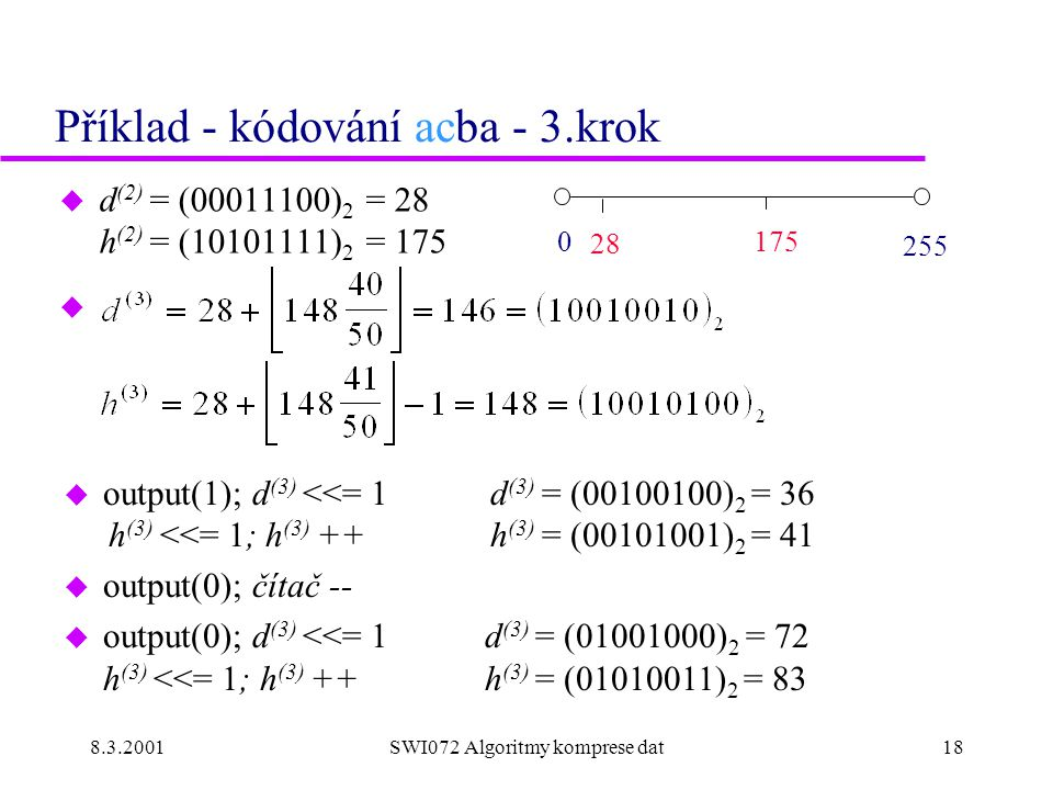 8.3.2001SWI072 Algoritmy komprese dat18 Příklad - kódování acba - 3.krok u d (2) = (00011100) 2 = 28 h (2) = (10101111) 2 = 175 u 0 175 255 28 u output(1); d (3) <<= 1 d (3) = (00100100) 2 = 36 h (3) <<= 1; h (3) ++ h (3) = (00101001) 2 = 41 u output(0); čítač -- u output(0); d (3) <<= 1 d (3) = (01001000) 2 = 72 h (3) <<= 1; h (3) ++ h (3) = (01010011) 2 = 83