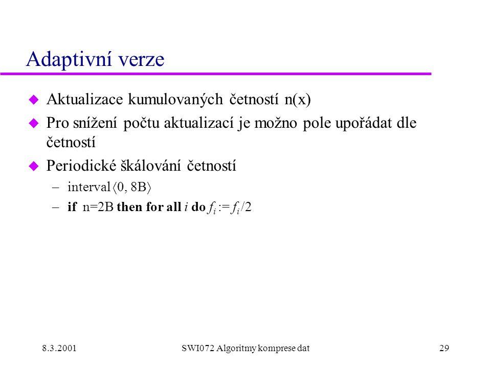 8.3.2001SWI072 Algoritmy komprese dat29 Adaptivní verze u Aktualizace kumulovaných četností n(x) u Pro snížení počtu aktualizací je možno pole upořádat dle četností u Periodické škálování četností –interval  0, 8B  –if n=2B then for all i do f i := f i /2