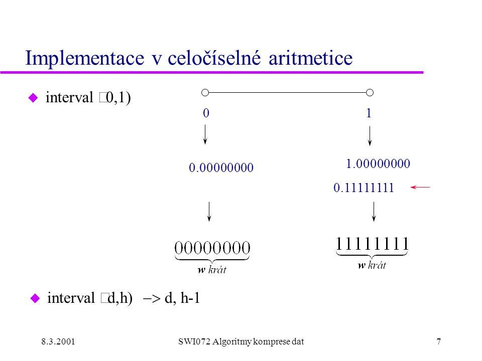 8.3.2001SWI072 Algoritmy komprese dat7 Implementace v celočíselné aritmetice  interval  0.11111111 01 1.00000000 0.00000000  interval  d  h 