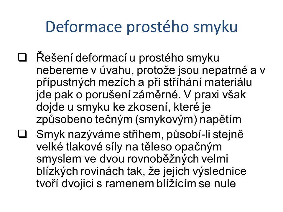 Deformace prostého smyku  Řešení deformací u prostého smyku nebereme v úvahu, protože jsou nepatrné a v přípustných mezích a při stříhání materiálu jde pak o porušení záměrné.