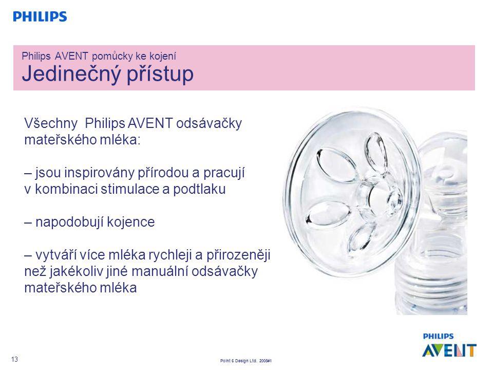 Point 6 Design Ltd. 2008#1 13 Všechny Philips AVENT odsávačky mateřského mléka: – jsou inspirovány přírodou a pracují v kombinaci stimulace a podtlaku