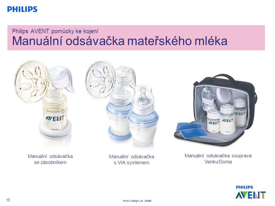 Point 6 Design Ltd. 2008#1 19 Manuální odsávačka se zásobníkem Philips AVENT pomůcky ke kojení Manuální odsávačka mateřského mléka Manuální odsávačka
