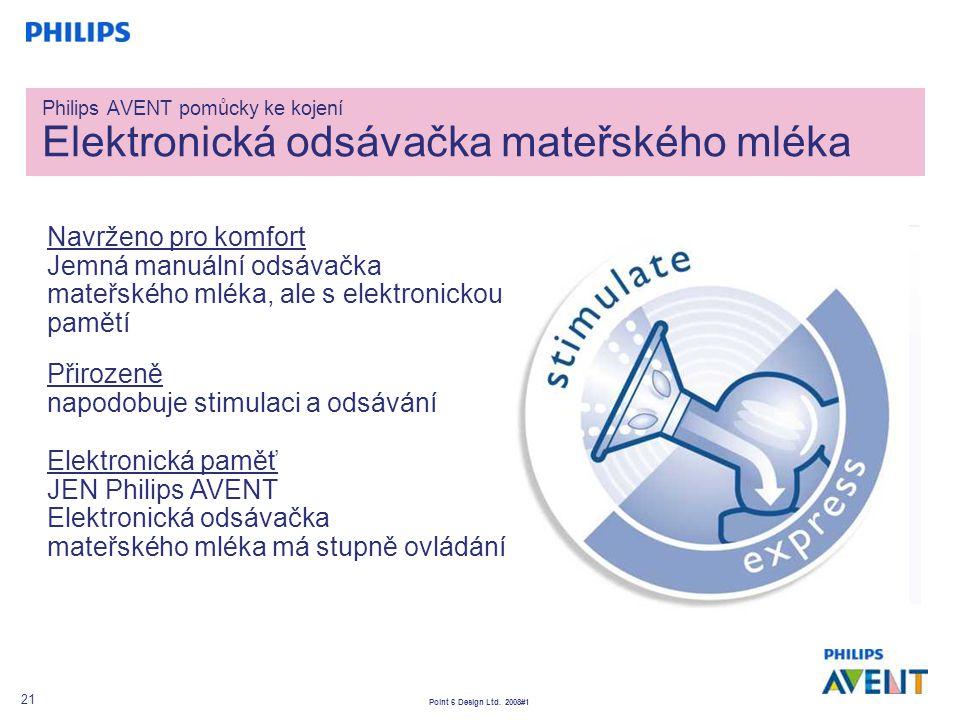 Point 6 Design Ltd. 2008#1 21 Navrženo pro komfort Jemná manuální odsávačka mateřského mléka, ale s elektronickou pamětí Přirozeně napodobuje stimulac