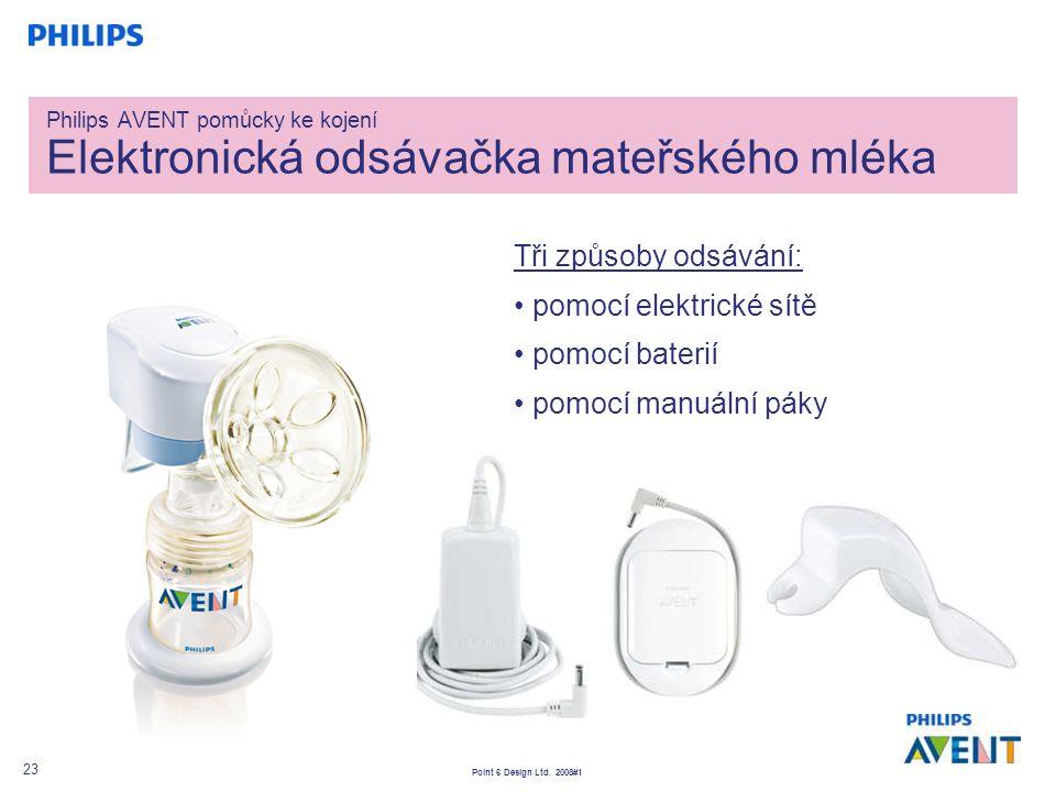 Point 6 Design Ltd. 2008#1 23 Philips AVENT pomůcky ke kojení Elektronická odsávačka mateřského mléka Tři způsoby odsávání: pomocí elektrické sítě pom
