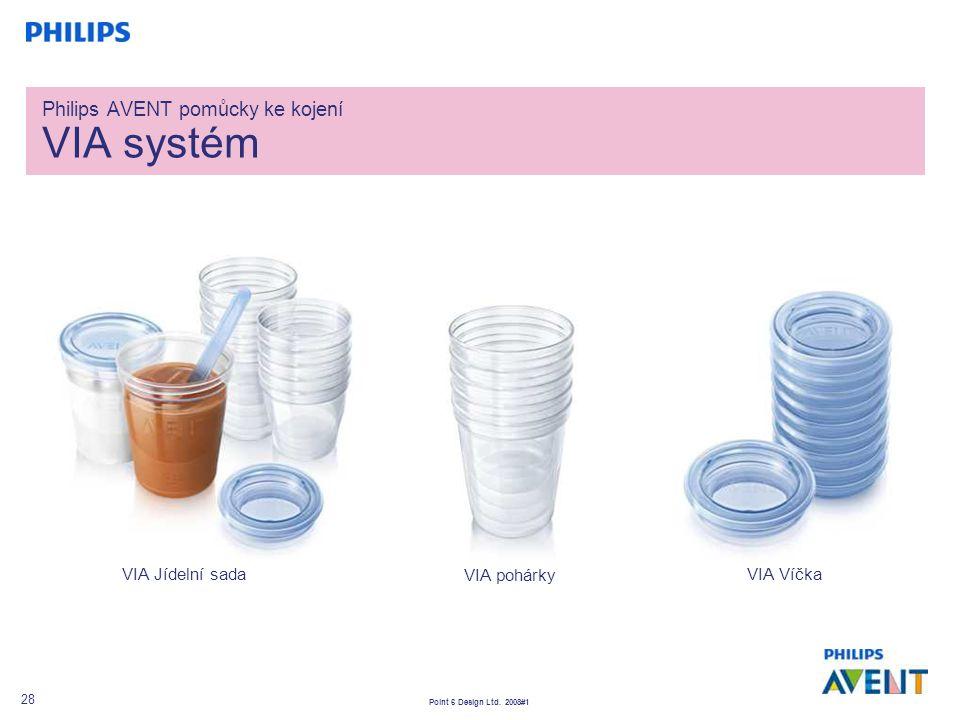 Point 6 Design Ltd. 2008#1 28 Philips AVENT pomůcky ke kojení VIA systém VIA pohárky VIA VíčkaVIA Jídelní sada