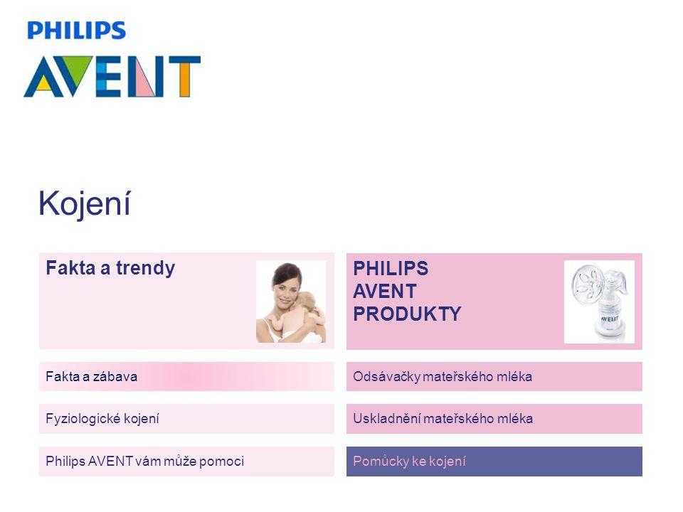 Fakta a trendy Philips AVENT vám může pomoci Fakta a zábava Fyziologické kojení Odsávačky mateřského mléka Uskladnění mateřského mléka Pomůcky ke kojení PHILIPS AVENT PRODUKTY Kojení