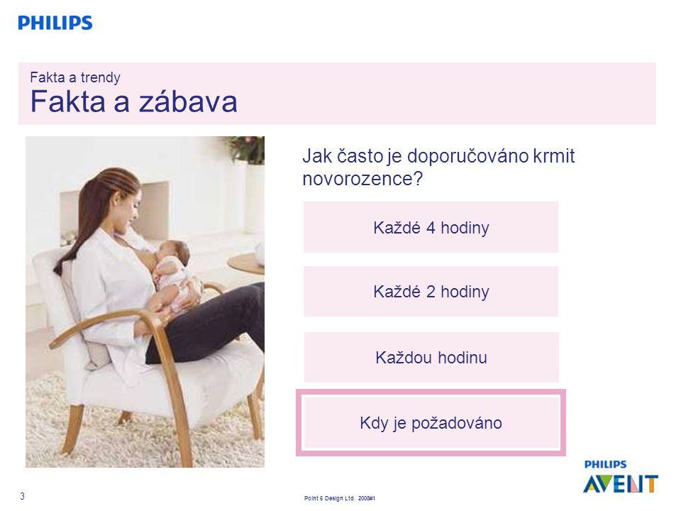 Point 6 Design Ltd. 2008#1 3 Jak často je doporučováno krmit novorozence? Každé 4 hodiny Každé 2 hodiny Každou hodinu Kdy je požadováno Fakta a trendy