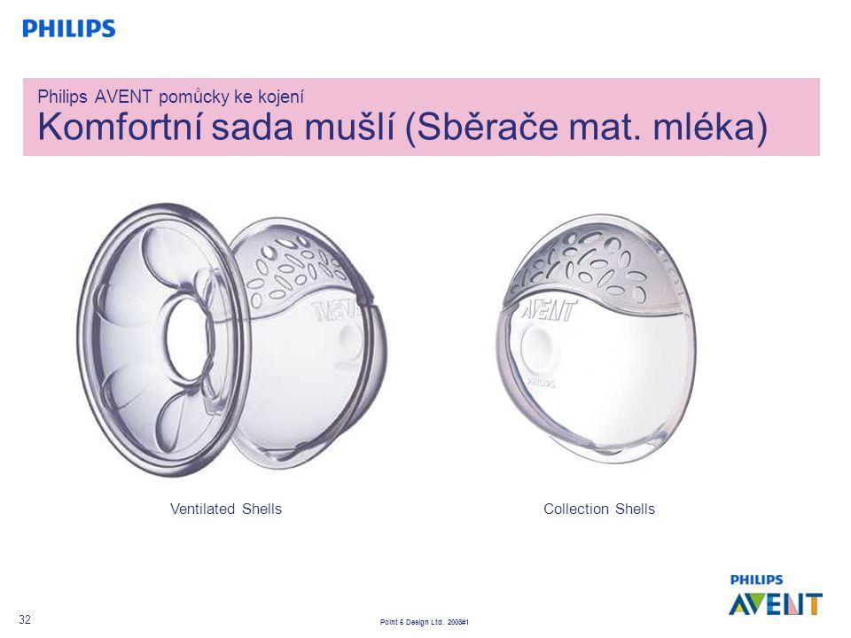 Point 6 Design Ltd. 2008#1 32 Philips AVENT pomůcky ke kojení Komfortní sada mušlí (Sběrače mat. mléka) Ventilated ShellsCollection Shells