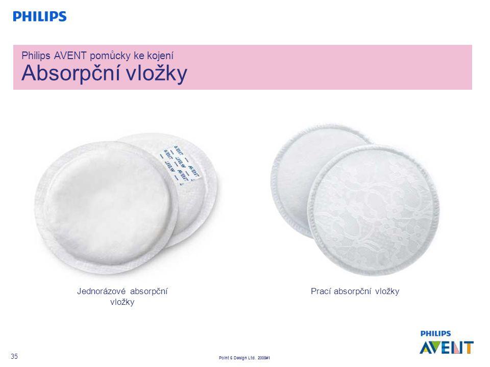 Point 6 Design Ltd. 2008#1 35 Philips AVENT pomůcky ke kojení Absorpční vložky Jednorázové absorpční vložky Prací absorpční vložky