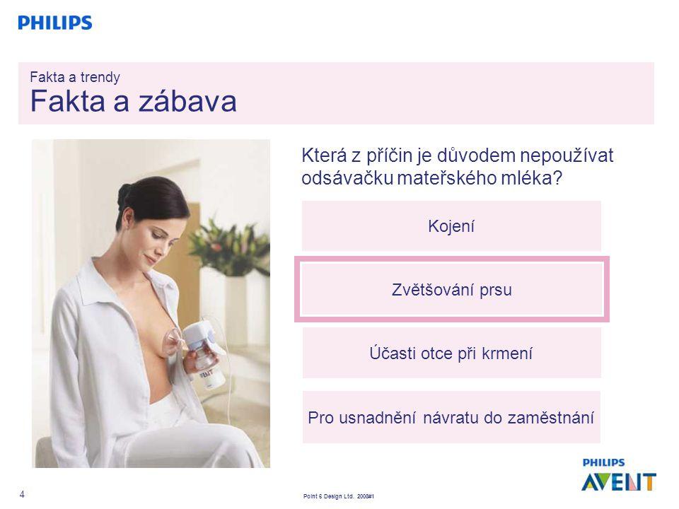 Point 6 Design Ltd. 2008#1 4 Která z příčin je důvodem nepoužívat odsávačku mateřského mléka? Kojení Zvětšování prsu Účasti otce při krmení Pro usnadn