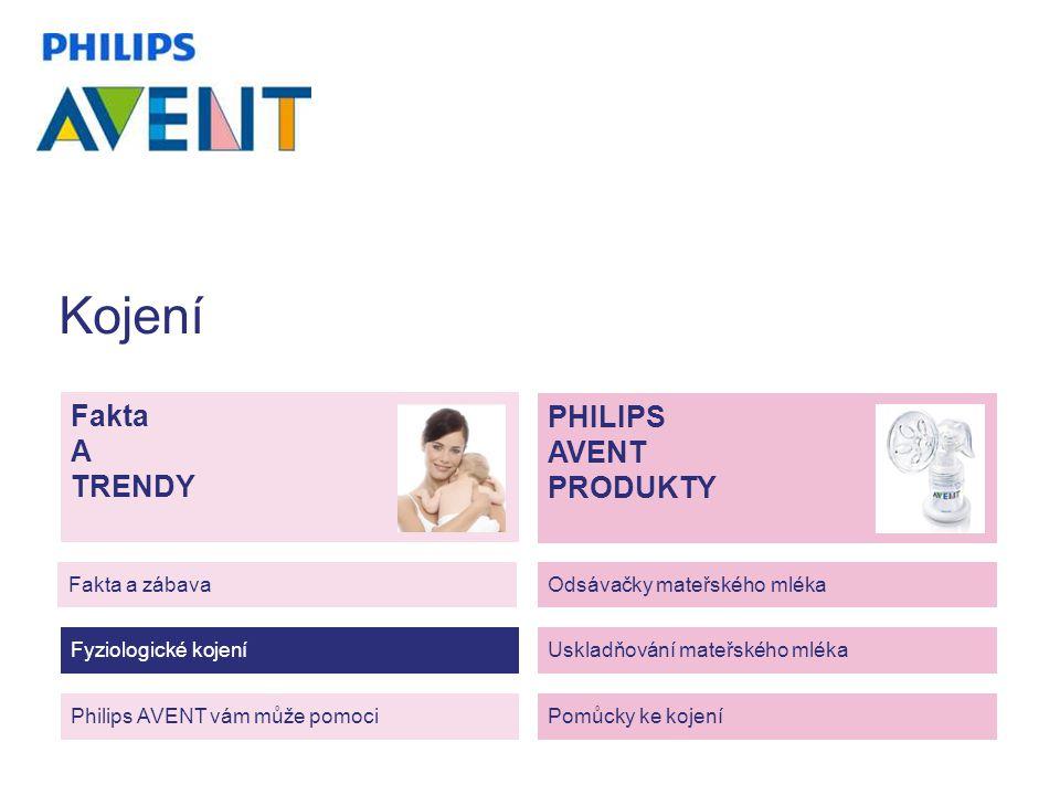 Kojení Fakta A TRENDY Philips AVENT vám může pomoci Fakta a zábava Fyziologické kojení Odsávačky mateřského mléka Uskladňování mateřského mléka Pomůcky ke kojení PHILIPS AVENT PRODUKTY
